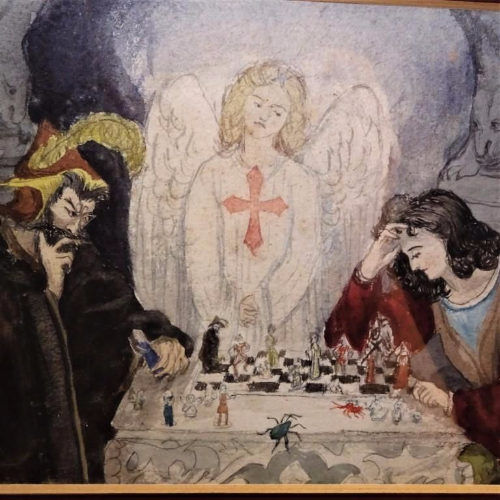 Watercolour Painting Of Weird Chess Scene